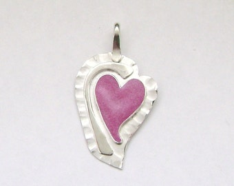 SALE!! Sterling Silver & Pink Resin Heart Pendant