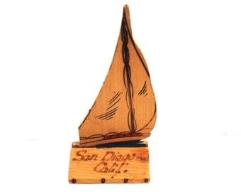 Vintage sailboat nautical 1940s souvenir from San Diego wood burned