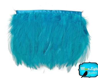 Rooster Trim, 1 Yard - Turquoise Blue Rooster Neck Hackle Feather Trim : 3174