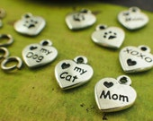4 Tierra Cast Heart Shaped Charms - Love My Mom, Cat or Dog - 12mm X 10mm - Made in the USA - With Handmade Jump Rings - 100% Guarantee