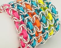 Premium Byzantine Stretch Chainmaille Bracelet Kit - Neon Rubber and Aluminum