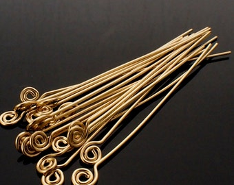 6 - 14kt Yellow or Rose Gold FIlled Swirly Head Pins - Handmade in Your Choice of Gauge and Length