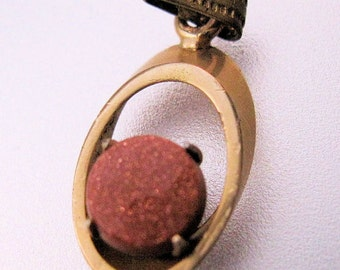 Vintage Goldstone Gold Filled Charm Pendant Jewelry Jewellery