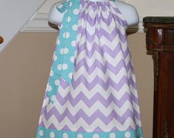 infant lavender aqua blue chevron Pillowcase dress baby girls riley blake purple blue polka dot toddler dress size newborn thru 24 months