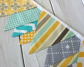 Bunting, Fabric Banner, Fabric Flags, Baby Nursery Decor, Photography Prop, Garland, Pennant - Yellow, Gray, Mint Green, Grey, Teal, Chevron