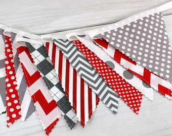 Bunting Banner, Photography Prop, Fabric Flags, Baby Nursery Decor, Birthday Decoration - Red and Gray Chevron,Dots,Gingham