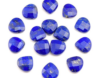 WE SELL QUALITY - 13mm Natural Egyptian Blue Lapis Briolette / Top Drilled / - Sold Per Each / Perfect For Earrings