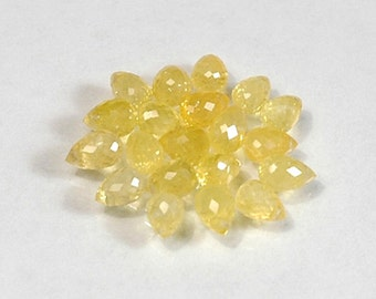 WE SELL QUALITY - Natural Yellow High Sparkle Sapphire Briolettes / Drilled / Item 2286c6