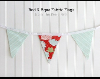 Aqua and Red Fabric Flag Bunting