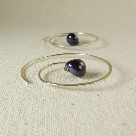 Spiral Earrings, Purple Earrings, Dark Amethyst Lampwork Earrings, Swirl Earrings, Argentium Earrings