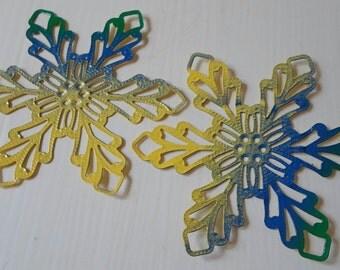 Hand Painted Enamel Filigree Flower Findings - Blue Yellow Green
