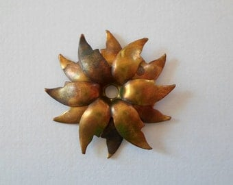 Vintage Oxidized Brass Unusual Flower Findings 23mm