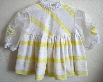 Vintage Baby Girls 70's Dress, White, Yellow, Striped, Long Sleeve (9-12 Mos)