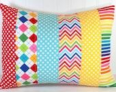 Decorative Pillow Cover, Rainbow Nursery Decor, Patchwork Pillow,12 x 16 Inches, Rainbow Chevron Dots and Argyle, Red, Yellow, Aqua Blue