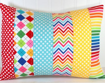 Decorative Pillow Cover, Rainbow Nursery Decor, Patchwork Pillow,12 x 16 Inches, Rainbow Chevron Dots and Argyle, Red, Yellow, Aqua Blue