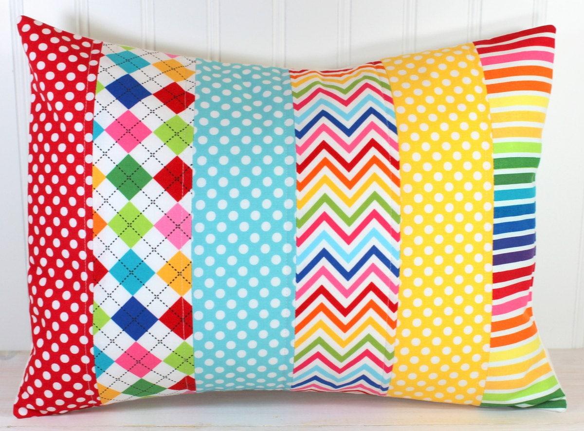 Decorative Pillow Cover Rainbow Nursery Decor Patchwork