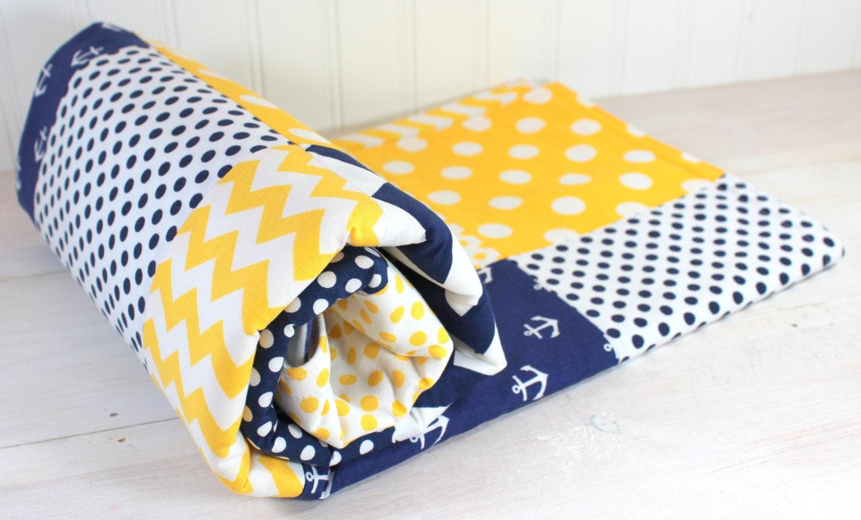 Baby Boy Blanket Minky Blanket Anchor Crib Blanket