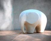 Elephant  decor ceramic large  figurine in snowflake white