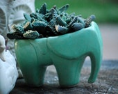 Elephant  planter in mint green - claylicious
