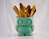 large utensil holder, ceramic owl planter, kitchen organization ,ceramic utensil holder