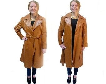 Womens Vintage 1970'S  Mod Butterscotch Brown Tan   Wrap Front  Trench Coat   Size Medium