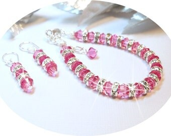 Pink Jewelry, Bracelet, Earrings, Flower Girl, Crystal Jewelry, Glitz Pageant, Recital, Rhinestones,  Austrian Crystal, Kids Jewelry