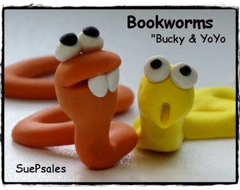 Two Polymer Clay Bookworms, Polymer Clay Reading Buddies, 3D Bookmarks, Polymer Clay Bookmarks, Fun Bookmarks, Cute Bookmarks