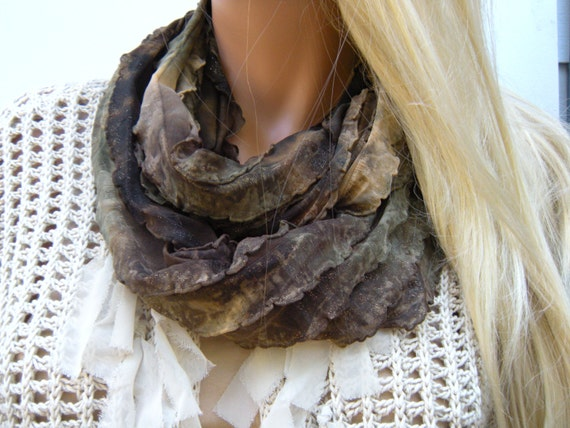 reserved for Jodi-Timeless Glamour in dark Earth colors  Flamenco  Necklace Scarf  with Gold shimmer earthy Infinity scarf