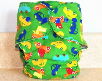Fitted Medium Cloth Diaper- 10 to 20 lbs- Cars on Green- 18008