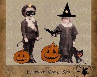 Halloween Vintage Kids Collage Sheet Printable Digital Download
