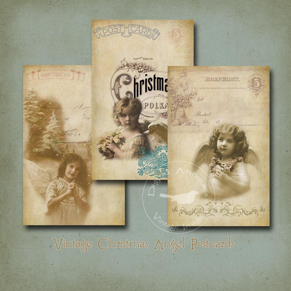 Instant Messaging Angel : Vintage christmas angel postcards digital download