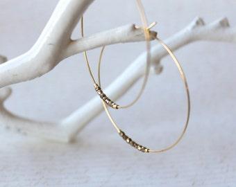 Hoop Earrings, Large Gold Hoops, Chocolate Brown Czech Glass Beads, Hoop Earrings, Czech Glass Earrings, Gold Hoop Earrings
