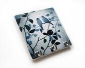 Love Bird Key Hook, Blue Gray Wall Decor, Key Rack, Key Holder, Jewelry Organizer, Decorative Tile (15)