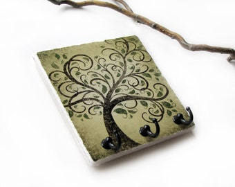 Brown Earthtones Tree  Wall Decor Key Rack, Jewelry Hook Organizer, Key Holder, Green Tree Art, Key Hook Hanger, Decorative Tile