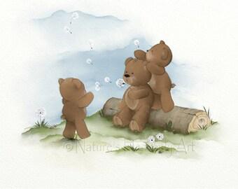 Teddy Bear Nursery Wall Art Childrens Print, 11 x 14 Girls Room Wall Decor, Artwork for Kids (39)