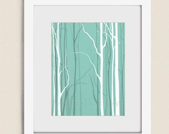 Teal Wall Decor Bare Winter Tree Art Print, 11 x 14 Bedroom Wall Art, Nature Silhouette (52)