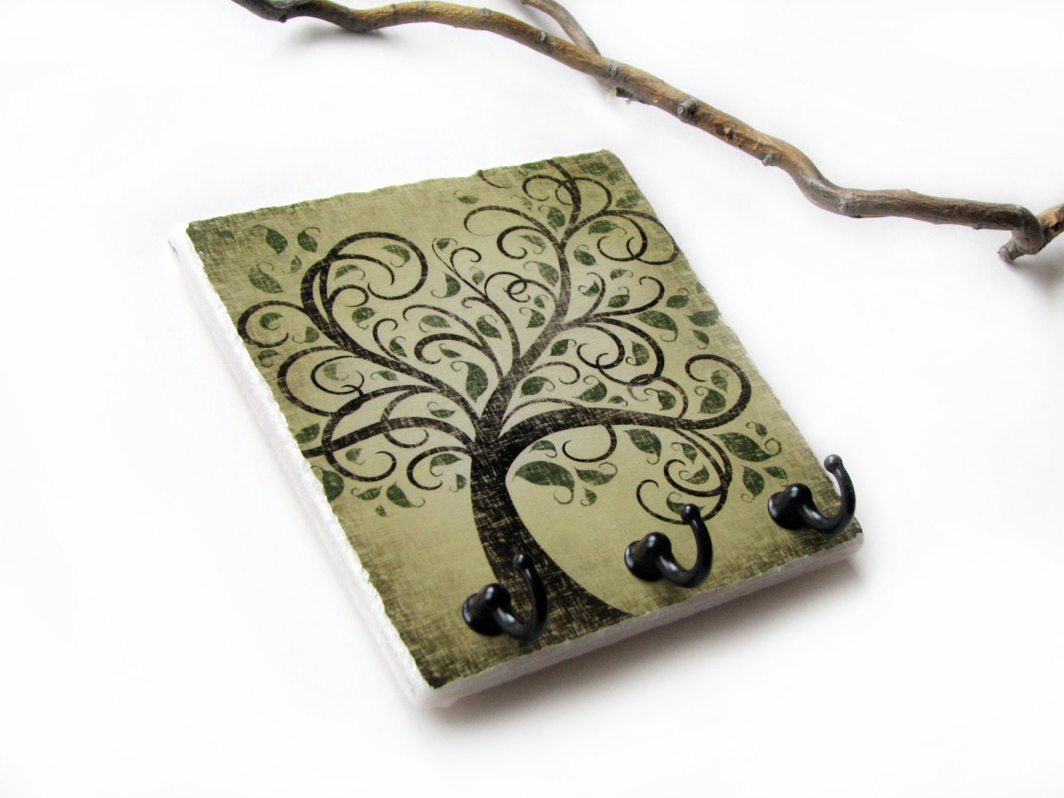 Brown earthtones tree wall decor key rack jewelry hook for Mural key holder
