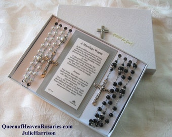 Queen of Heaven Wedding Rosary Set,  Bridal Rosaries -Pearl Rosary-Bride's Rosary-Groom's Rosary