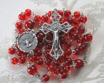 Red Catholic Rosary/Ruby Rosary/July Birthday Rosary