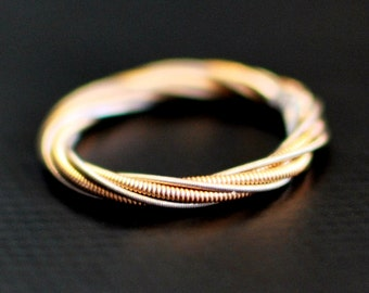 Guitar String Ring, Two Strings Twisted Together, Guitar String Jewelry, Guitar Gifts, Gift for Guitarist, Copper Ring, Unique Ring