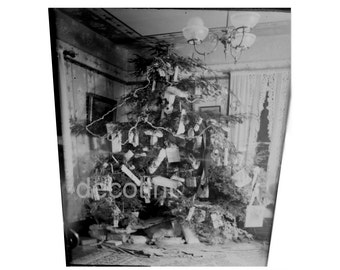 Delightful Victorian Christmas Tree Adorned With Gifts.  Antique Plate Glass Negative. Circa 1890.