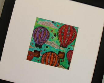 Up and Away hot air balloons 5x5 high quality print of mixed media art