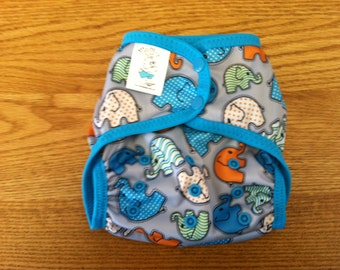 Orange and Blue Elephant Walk Poly PUL Cloth Diaper Cover With Aplix Hook&Loop Or Snaps Pick Size XS/Newborn, Small, Medium, Large, One Size