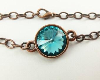 Turquoise Bracelet Crystal Chain Bracelet Antiqued Copper Bracelet