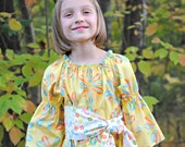 SALE!  Girl's Peasant Top, Girls Blouse, Toddler shirt, Girls shirts, Girls Clothing, toddler clothing, toddler top, yellow, size 6