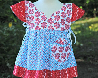 Girls Top, Tunic top, Girls clothing, Girls shirts, short sleeve shirt, toddler shirt, toddler top, blue, red, size 2T 3 4 5 6 7