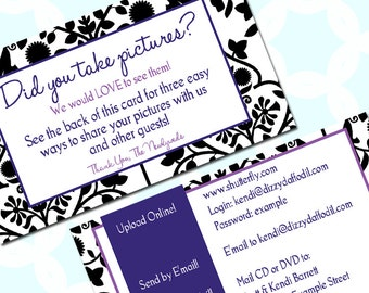 Wedding Guest Photo Upload Instruction Card - Custom Colors! - Have your guests send you their photos!