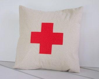 Swiss Cross Pillow, Lifeguard Cross Pillow