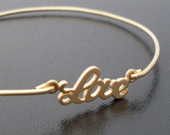 All You Need is Love Bangle Bracelet, Frosted Willow, Love Jewelry, Gold Bangle Bracelet, Gold Bridesmaid Bracelet, Bridesmaid Gift Idea