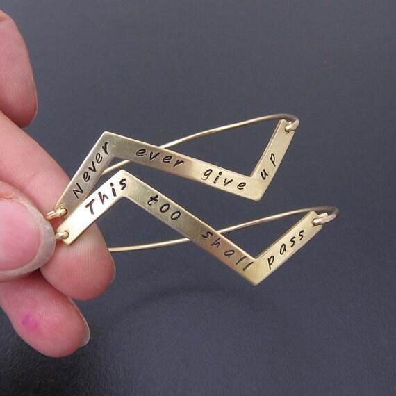 Custom Quote Bracelet, Custom Word Bracelet, Gold Word Jewelry, Custom Quote Jewelry, Chevron Bracelet, Chevron Jewelry With Quotes